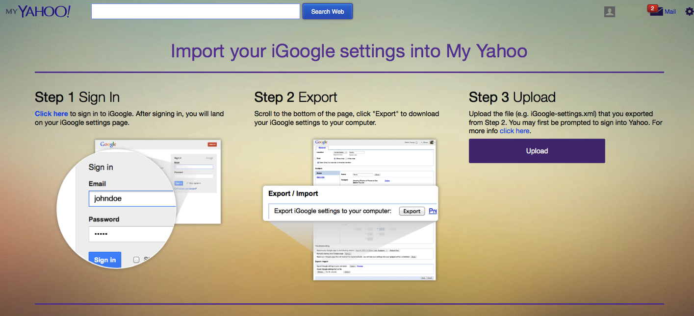 import igoogle settings